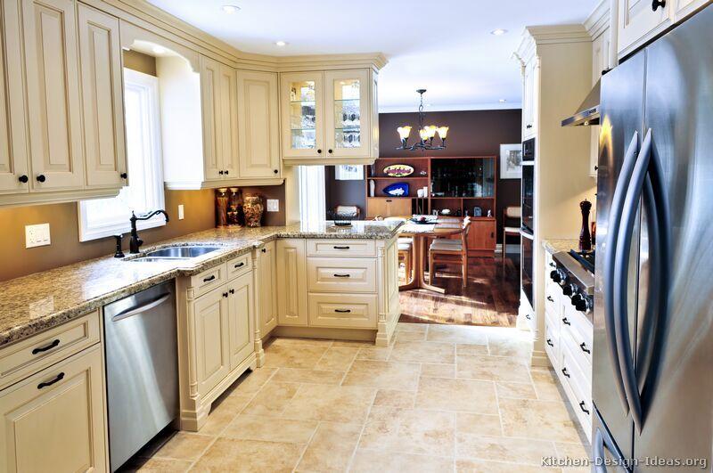 Traditional Antique White Kitchen Cabinets #02 (Kitchen-Design-Ideas