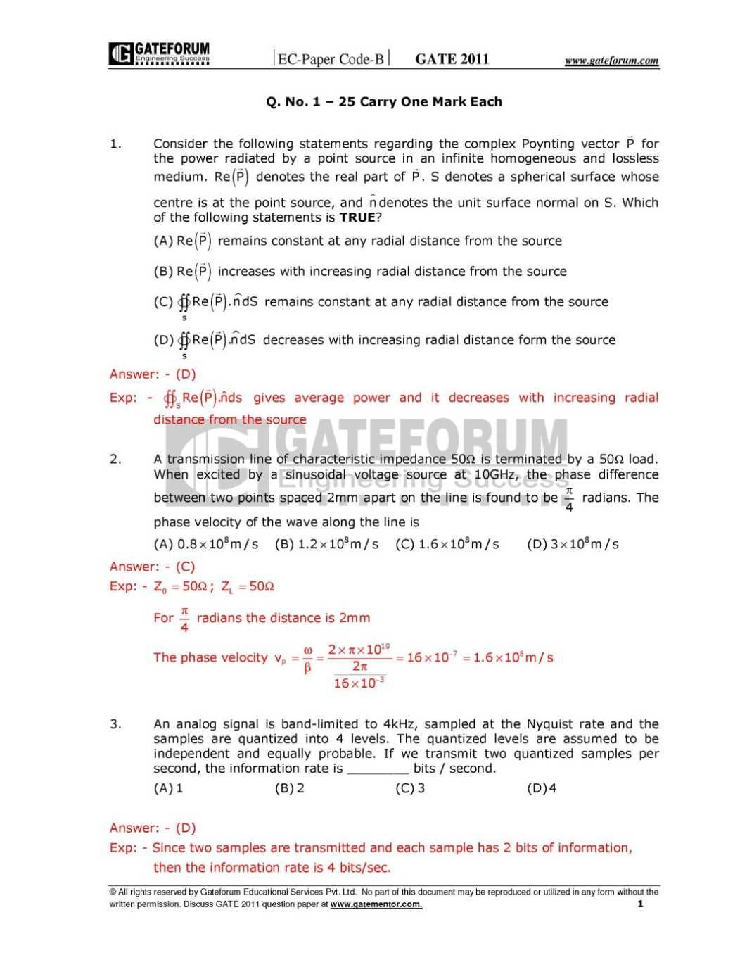 Gate Solved Papers For Ece Free Download