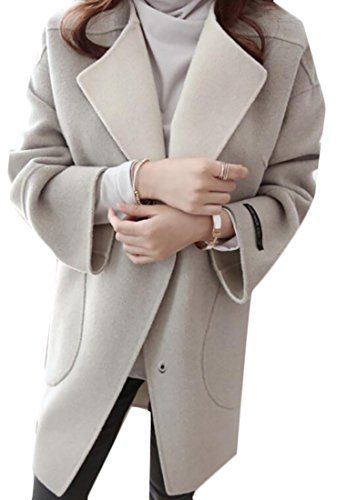 XQS Women Casual Trench Coat Solid Color Lapel Double Breasted Pea Coat