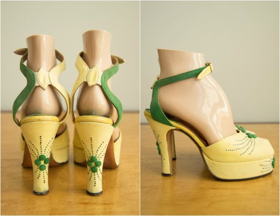 Vintage 1940s Shoes 40s Designer Platform Heels Gainsborough By Jack Rimler Besame Mucho Platforms 1940s Shoes Vintage Shoes Retro Shoes