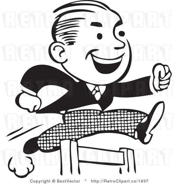 Retro Clipart Of Hard Working Businessman Jumping Hurdles Clip Art Sketch A Day Cartoon Styles