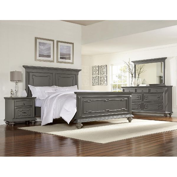 Clearance Gray 4 Piece Queen Bedroom Set - Asher Lane Transitional