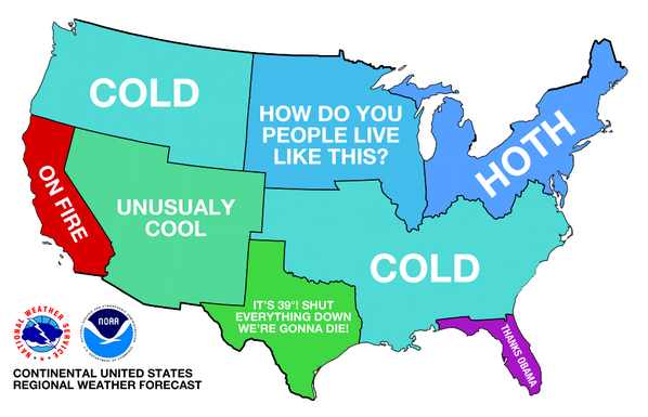 Map representing the current US temperatures (598 × 385 ...