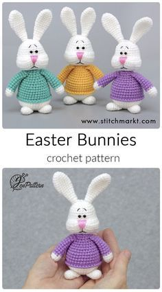 Colorful Easter Bunnies crochet PATTERN, Easter stuffed animals, DIY bunny rabbit Easter decoration amigurumi tutorial. PDF file (English)