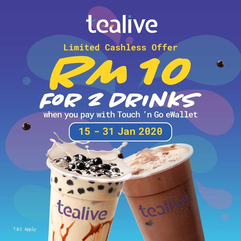 Tealive Rm10 For 2 Drinks Promotion With Touch N Go Ewallet 15