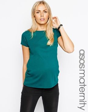 ASOS Maternity T-Shirt with Crew Neck and Cap Sleeve