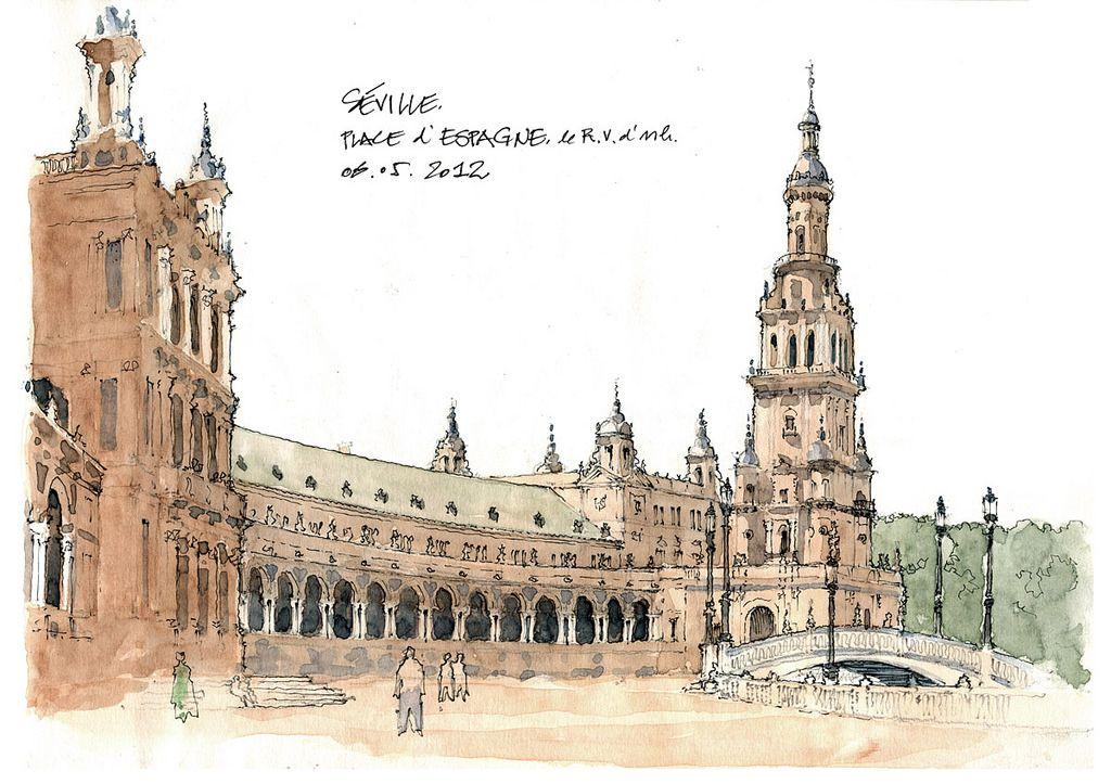 Seville Place D Espagne Urban Sketchers Architecture Painting Urban Sketching