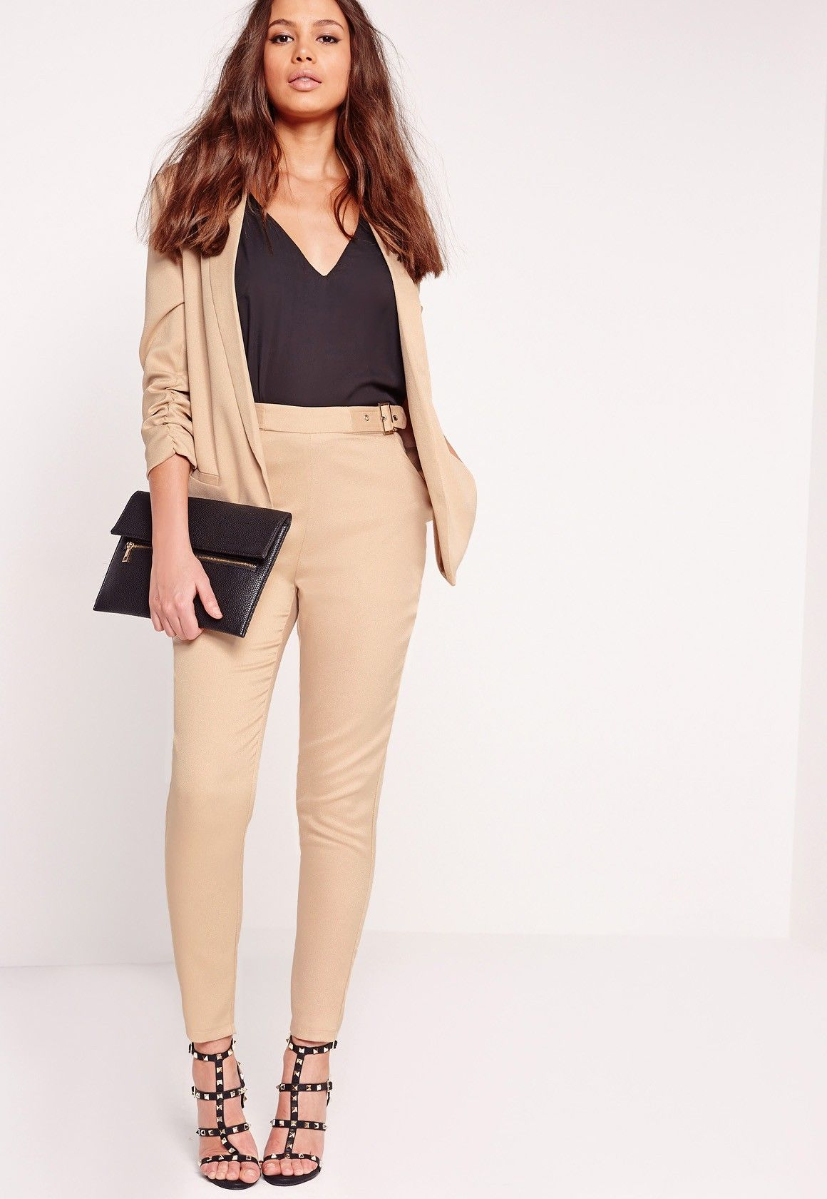 33521eca2ba ... Women - Office   Work Outfits. Missguided - Buckle Detail Cigarette  Pants Nude