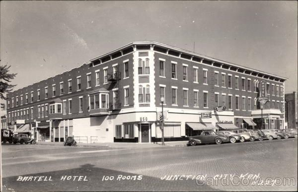 Historic Bartell Hotel Junction Cityphoto Postcardskansas