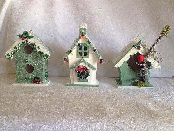 Christmas Birdhouses Crafts.Miniature Christmas Birdhouses Bird Houses Miniature