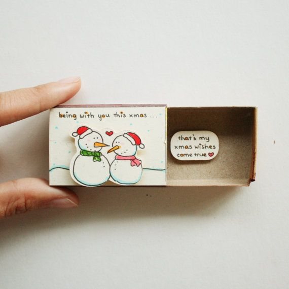 Diy Romantic Christmas Gifts: Romantic Snowman Love Card/ Love Matchbox Card/ Couples