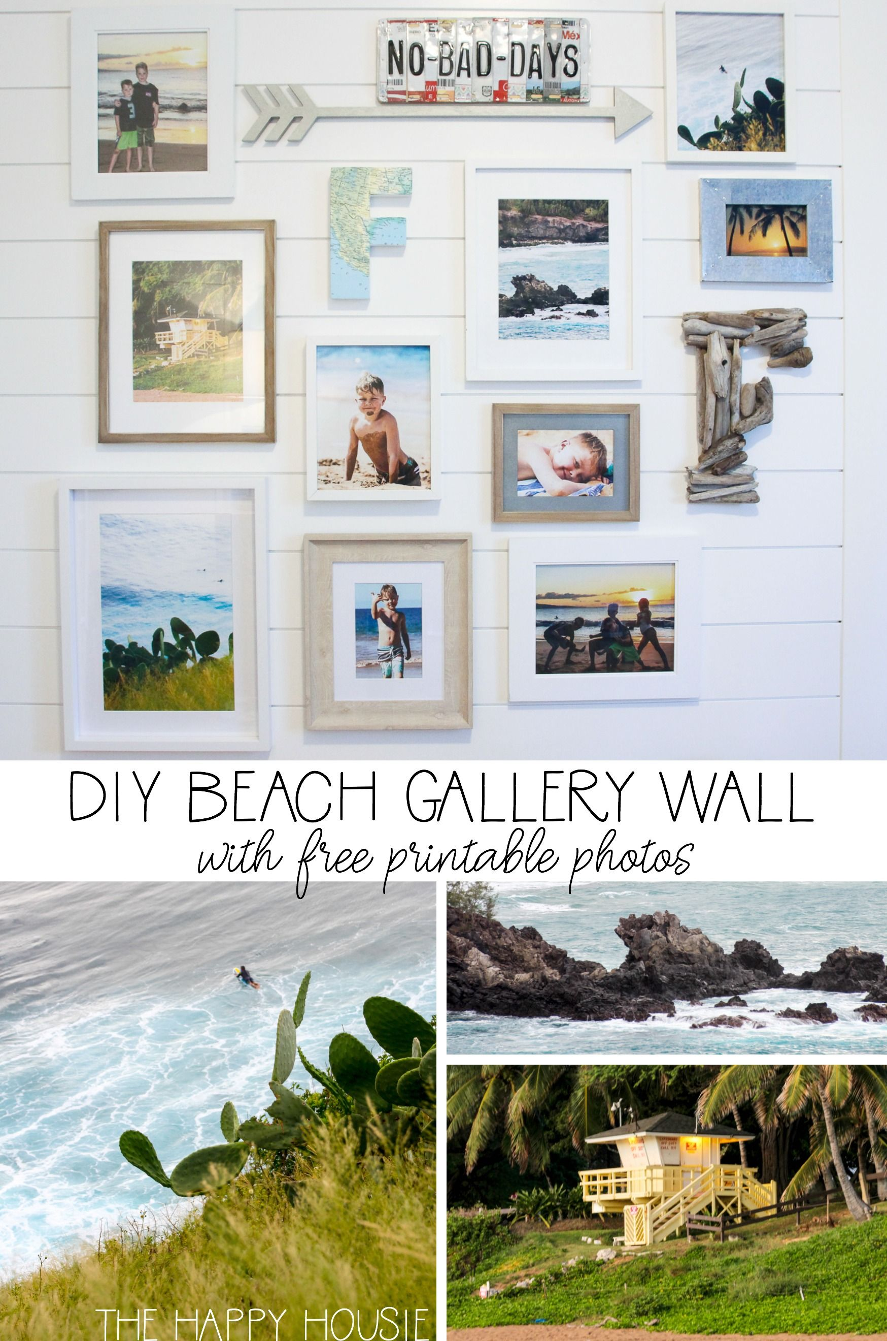 Beach Theme Gallery Wall With Free Printable Beach Photography The Happy Housie Gallery Wall Coastal Style Decorating Beach Decor