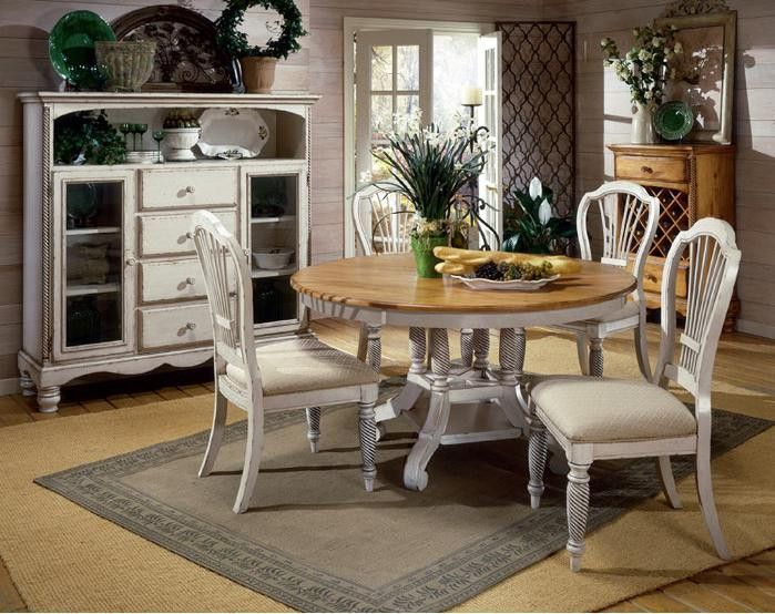 Hillsdale Wilshire 7 Piece Antique White Round Dining Table Set 4508dtbrndc7 Round Dining Room Sets Round Dining Table Sets French Country Dining Room