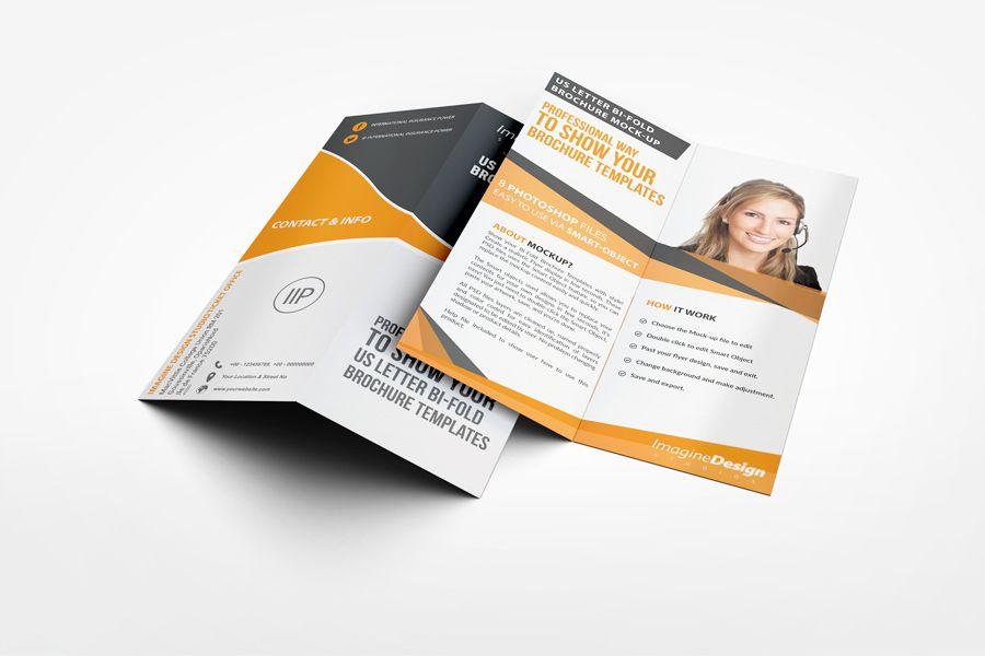 Us Letter HalfFold Brochure Mockup  MockUp