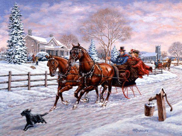 Sleigh Ride Print By Richard De Wolfe
