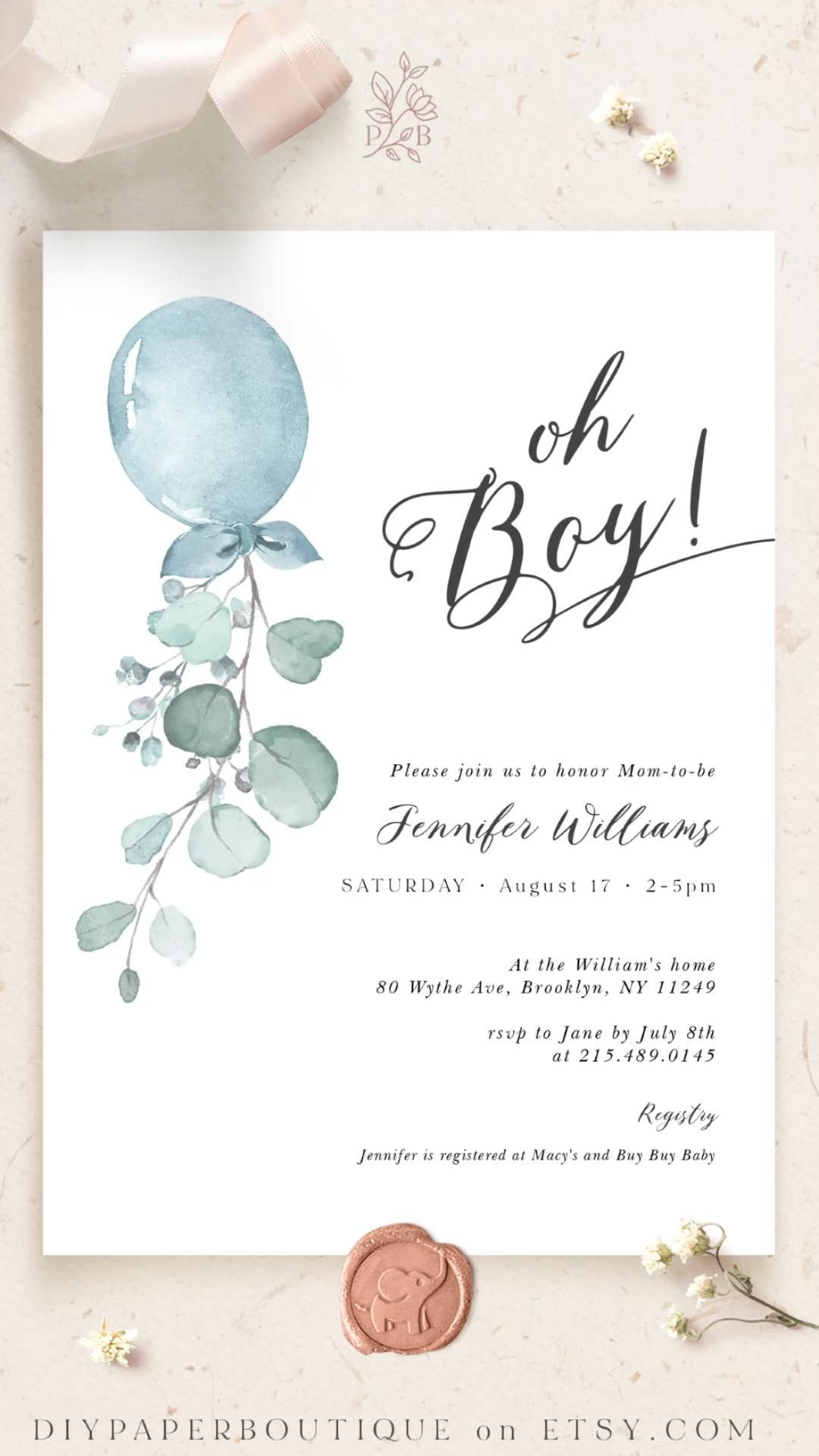 Oh Boy Baby Shower Invitation Balloon Baby Shower Template Etsy In 2021 Baby Shower Balloons Boho Baby Shower Invitations Baby Shower Invitations Diy Diy baby shower invitation template