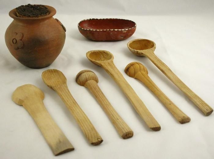 Collection Of Small Hand Carved Wood Spoons Terra Cotta Garlic Jar