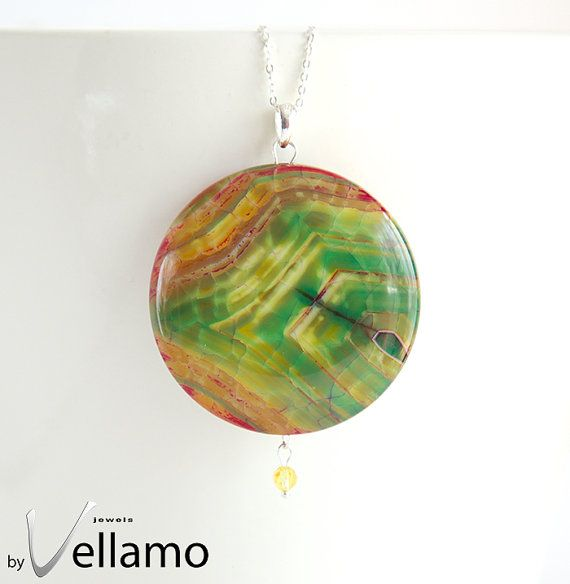 Green Red Dragon Medolth large stone pendant by byVellamo, $22.00