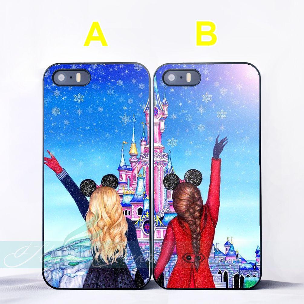 Cartoon Girls Princess Best Friend Couple Cases For Iphone X Best Offer Ineedthebestoffer Com Bff Iphone Cases Couple Cases Best Friend Cases