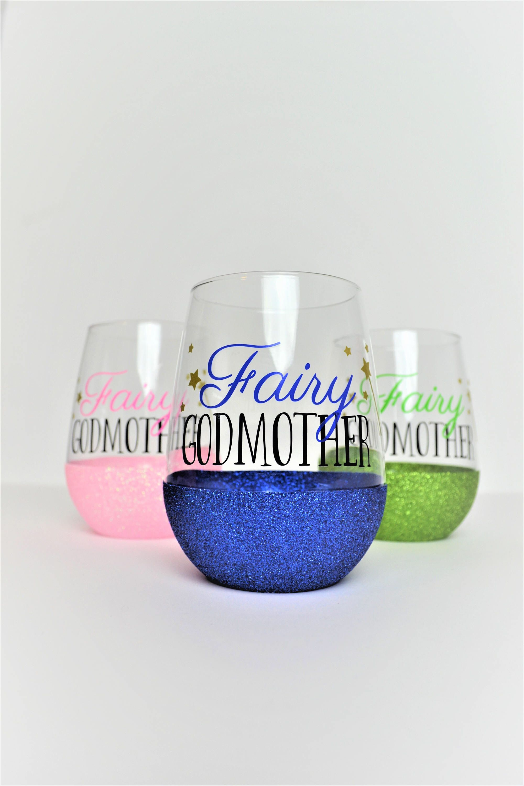 d1a7b919523 Fairy Godmother Wine Glass // Glittered Godmother Cup // Gift for Godmother  //