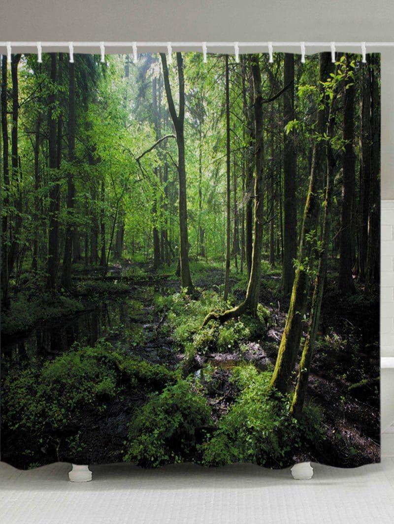 Forest trees print fabric bathroom shower curtain green w71 inch l79 inch