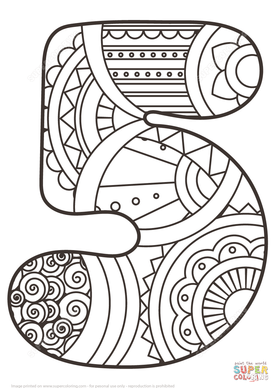 Number 5 Zentangle Super Coloring Eclectic Letters Fonts