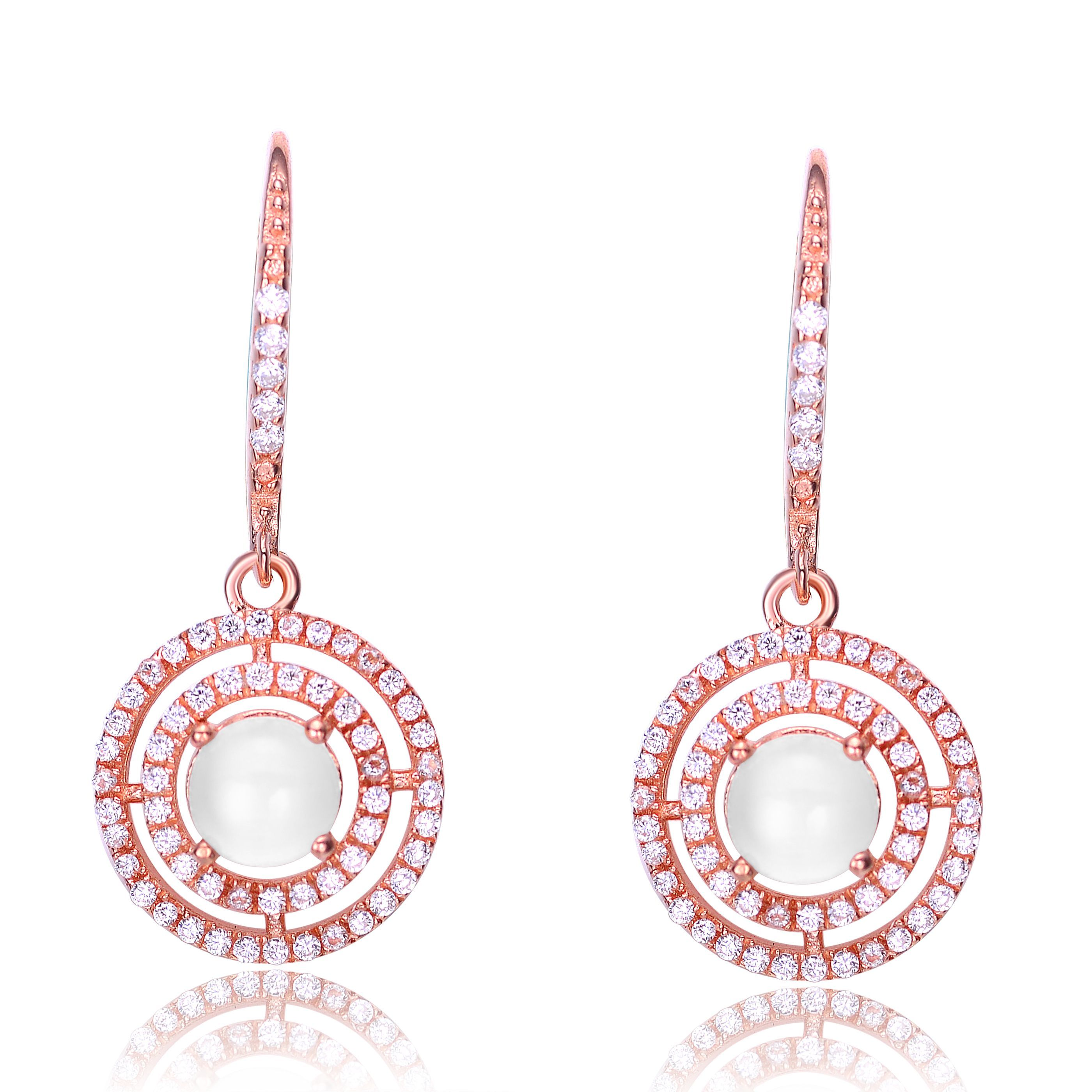 Collette Z Rose Gold Overlay Cubic Zirconia Leverback Earrings CZ