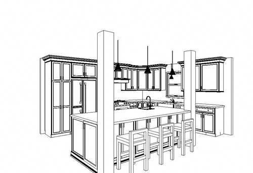 Best Kitchen Island With Support Columns Revised Kitchen 640 x 480