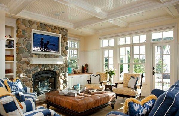 Elegante Wohnzimmer ~ Elegante wohnzimmer mit kassettendecken leder tisch stein kamin