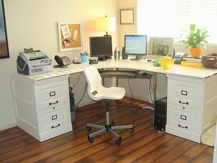 Corner Design Home Office Furniture L Shaped White Computer Desk