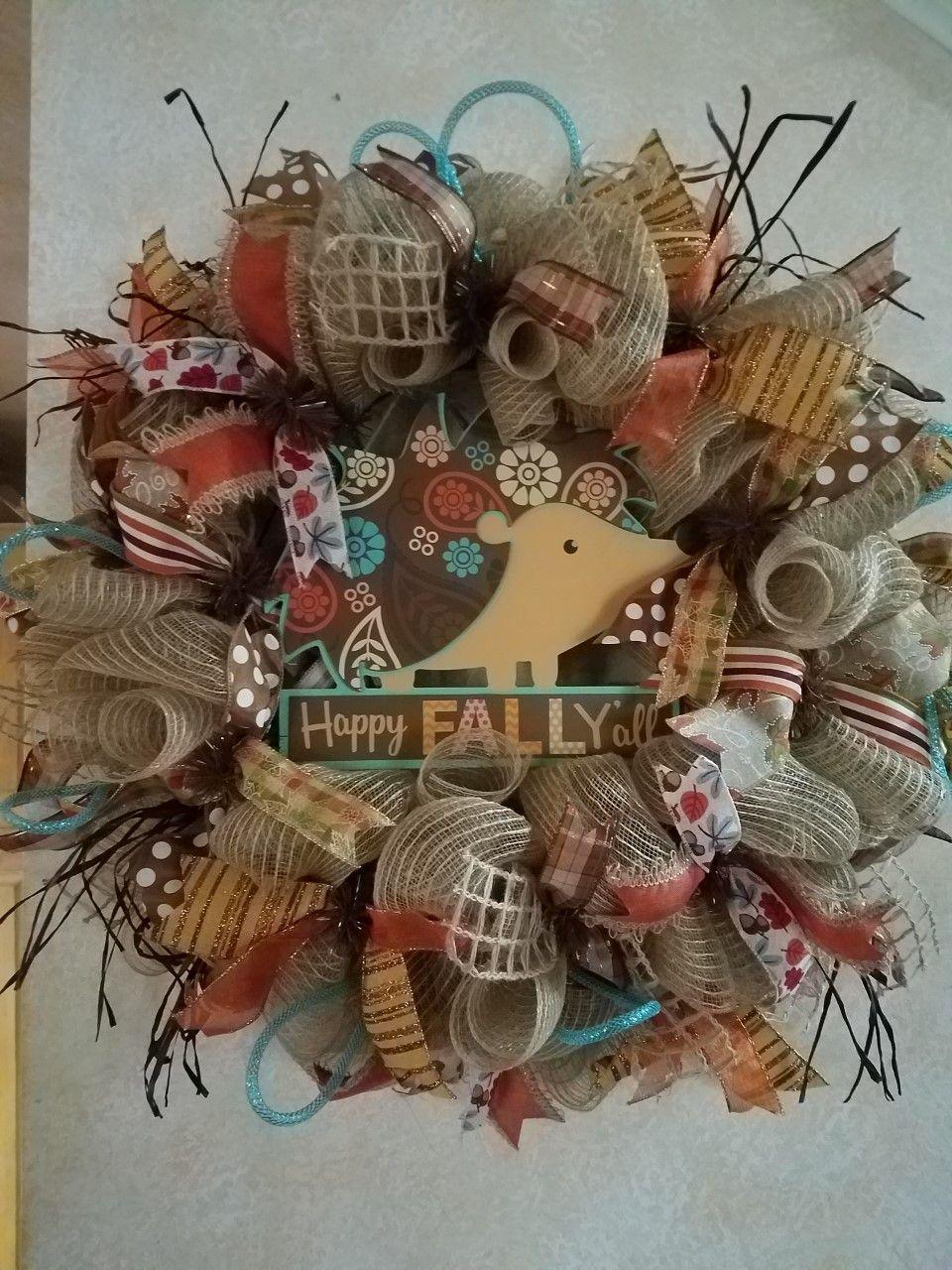 "Happy Fall Y'all Hedgehog 26"" Wreath for sale on Etsy by"