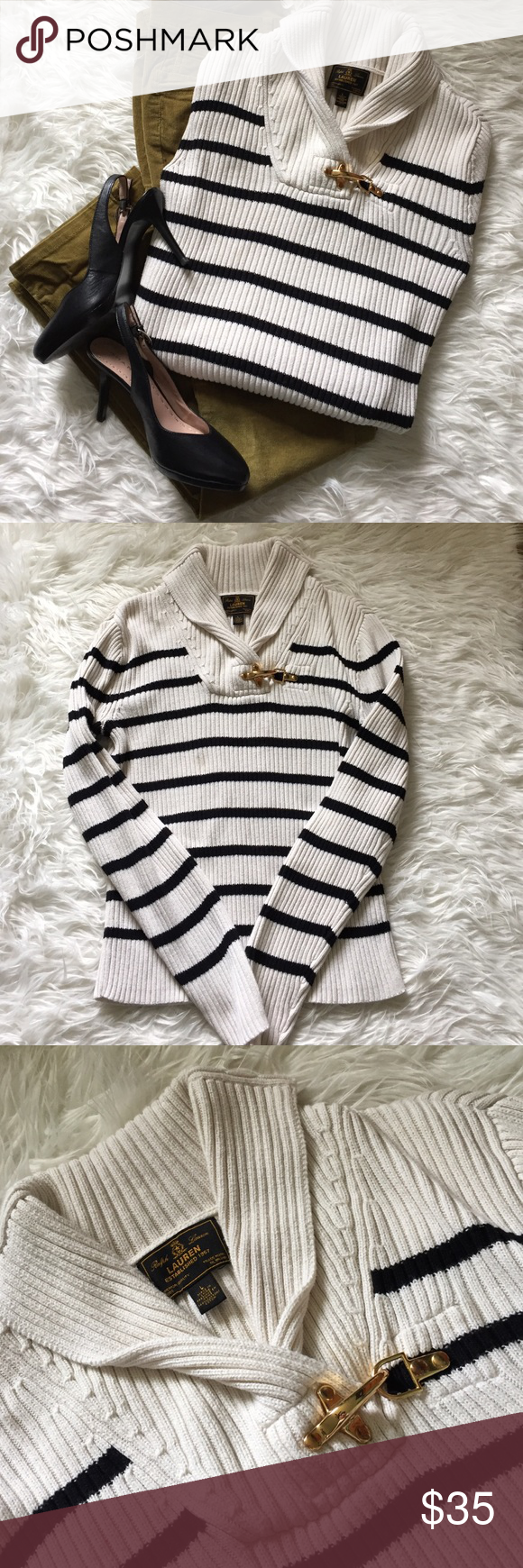 Ralph Lauren Black Label Sweater Large Black cream Super nice RL Lauren Black Label black and cream striped women's large sweater. Gold hook at collar, ribbed, and has some stretch to it. Smoke free pet free home! Ralph Lauren Black Label Sweaters Crew & Scoop Necks