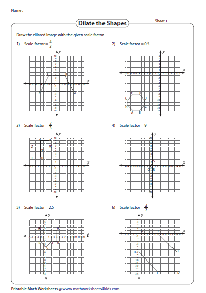 Drawing The Dilated Shapes Practices Worksheets Geometry Proofs Geometry Worksheets