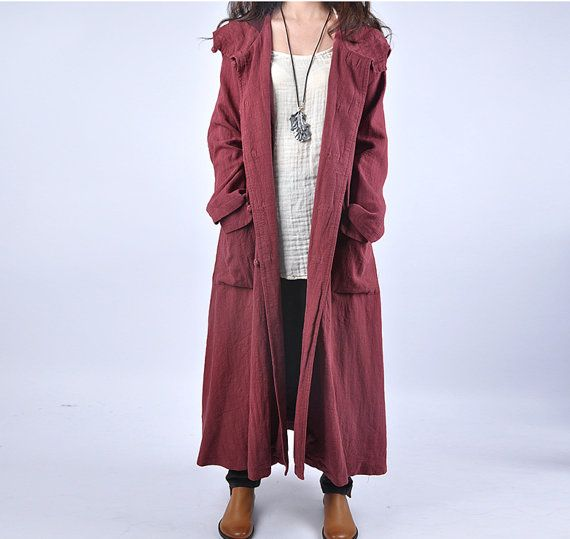 women linen coat plus size coat warm coat spring and by chaxuan