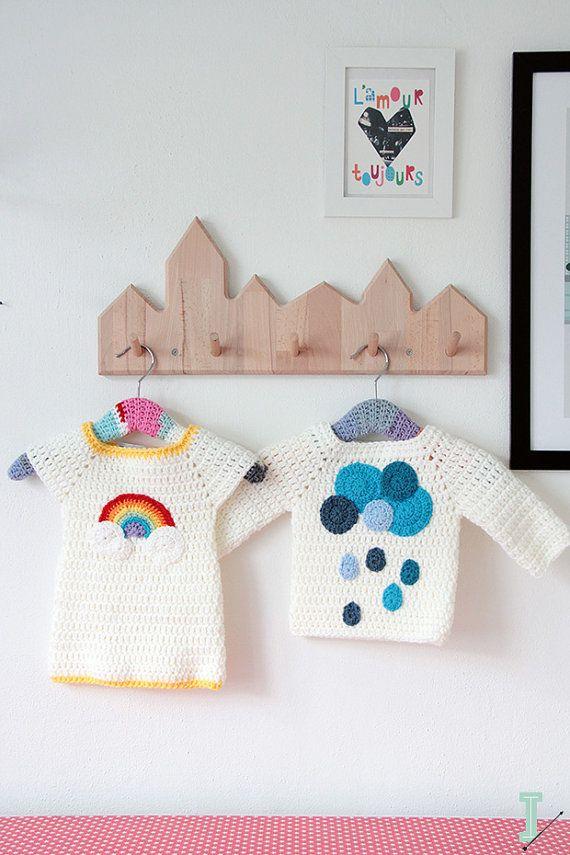 Crochet baby dress - Rainbow and clouds en 2018 | CROCHET ...