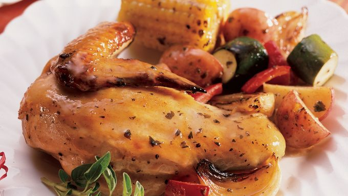 Balsamic vinaigrette brings a touch of the Mediterranean to your dinner table in roasted chicken.
