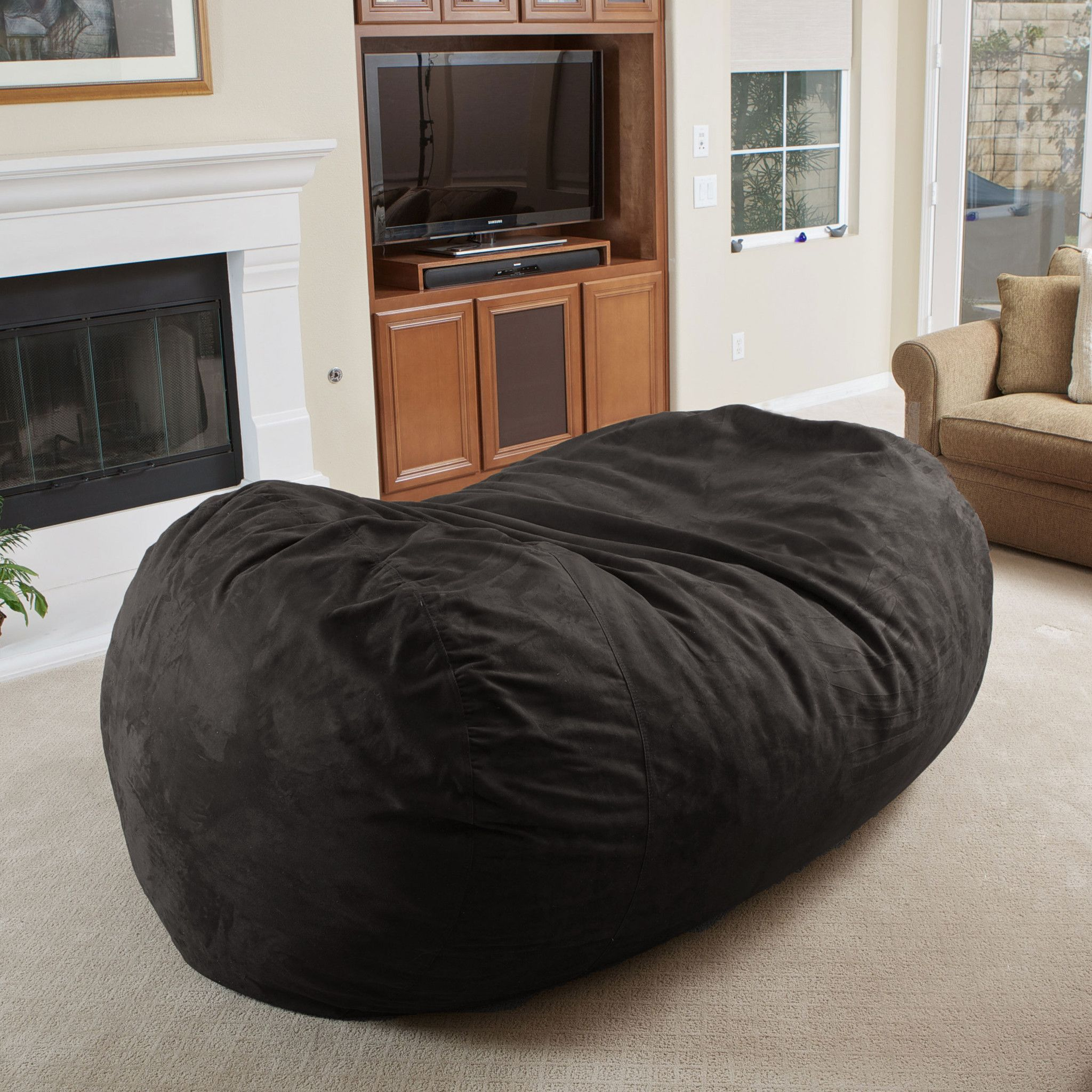 Astounding David Black Faux Suede 8 Foot Lounger Bean Bag Home Is Machost Co Dining Chair Design Ideas Machostcouk