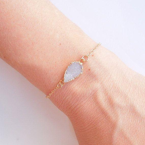 White Druzy Bracelet Teardrop Shape OOAK Jewelry by 443Jewelry