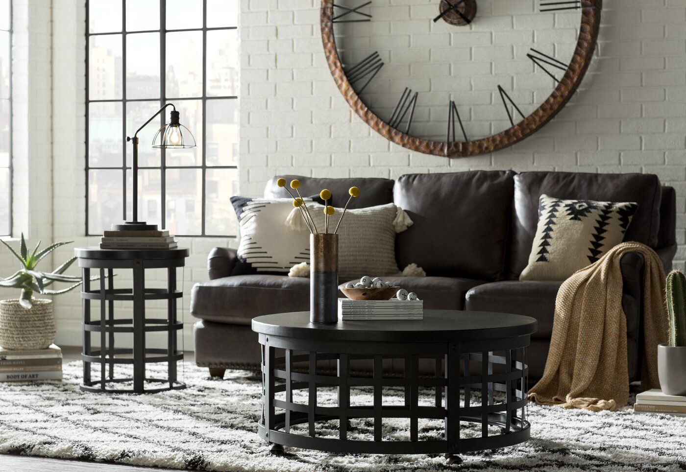 """17 Stories Oversized 60"""" Round Wall Clock & Reviews   Wayfair   Industrial decor living room ..."""