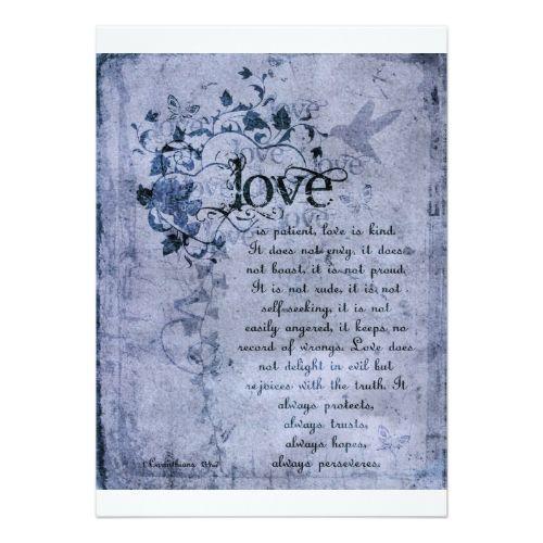 Catholic Wedding Invitations: KRW Corinthians Love Is: Wedding Invitation Navy