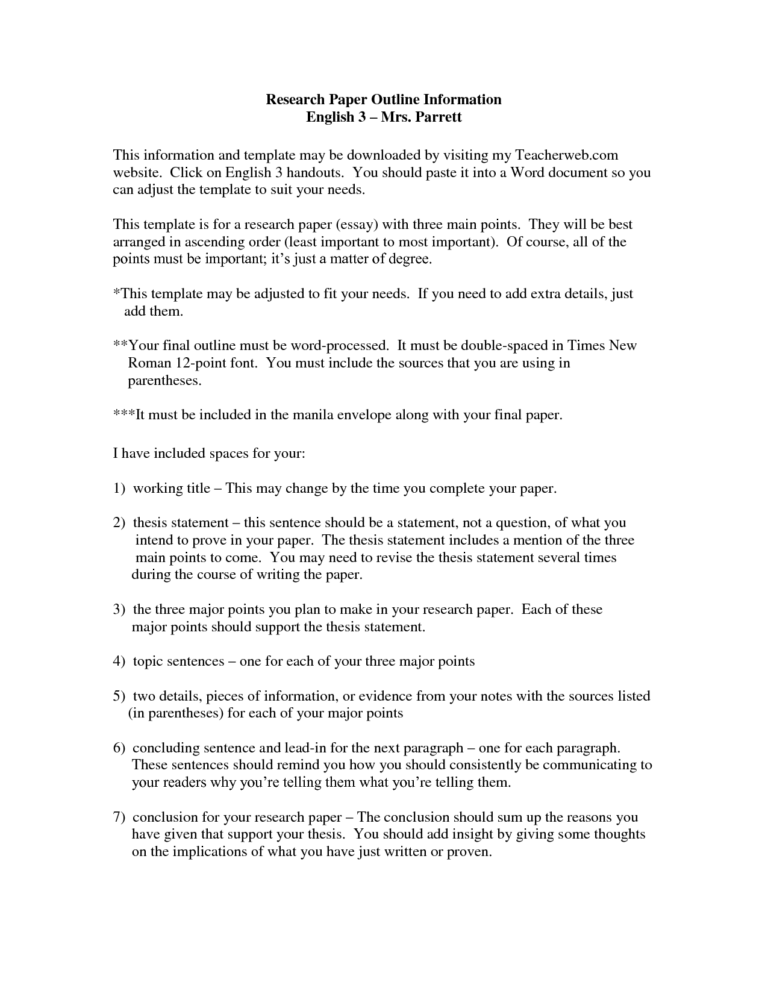 019 Examples Of Thesis Statements For Researchs Template For Word