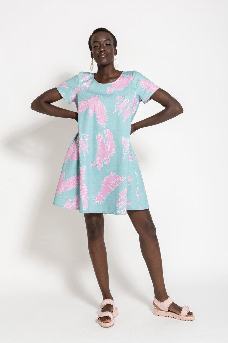 2fa253d54730 Description  Digitally printed Cotton Swing Dress Round neck In seam  pockets Flattering longer hem and