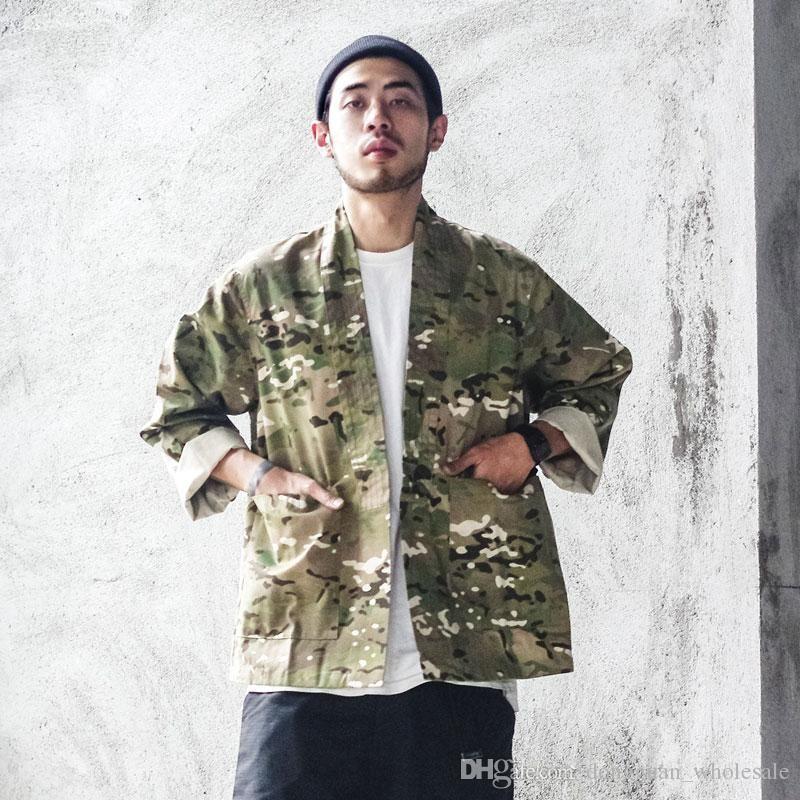 082f8d2a2 Japanese Camo Kimono Jackets Japan Style Mens Hip Hop Camouflage Casual  Open Stitch Coats Fashion Streetwear Jacket