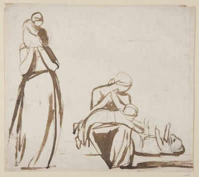 Sheet with Two Studies of Mother and Child. Artist: Sir George Romney
