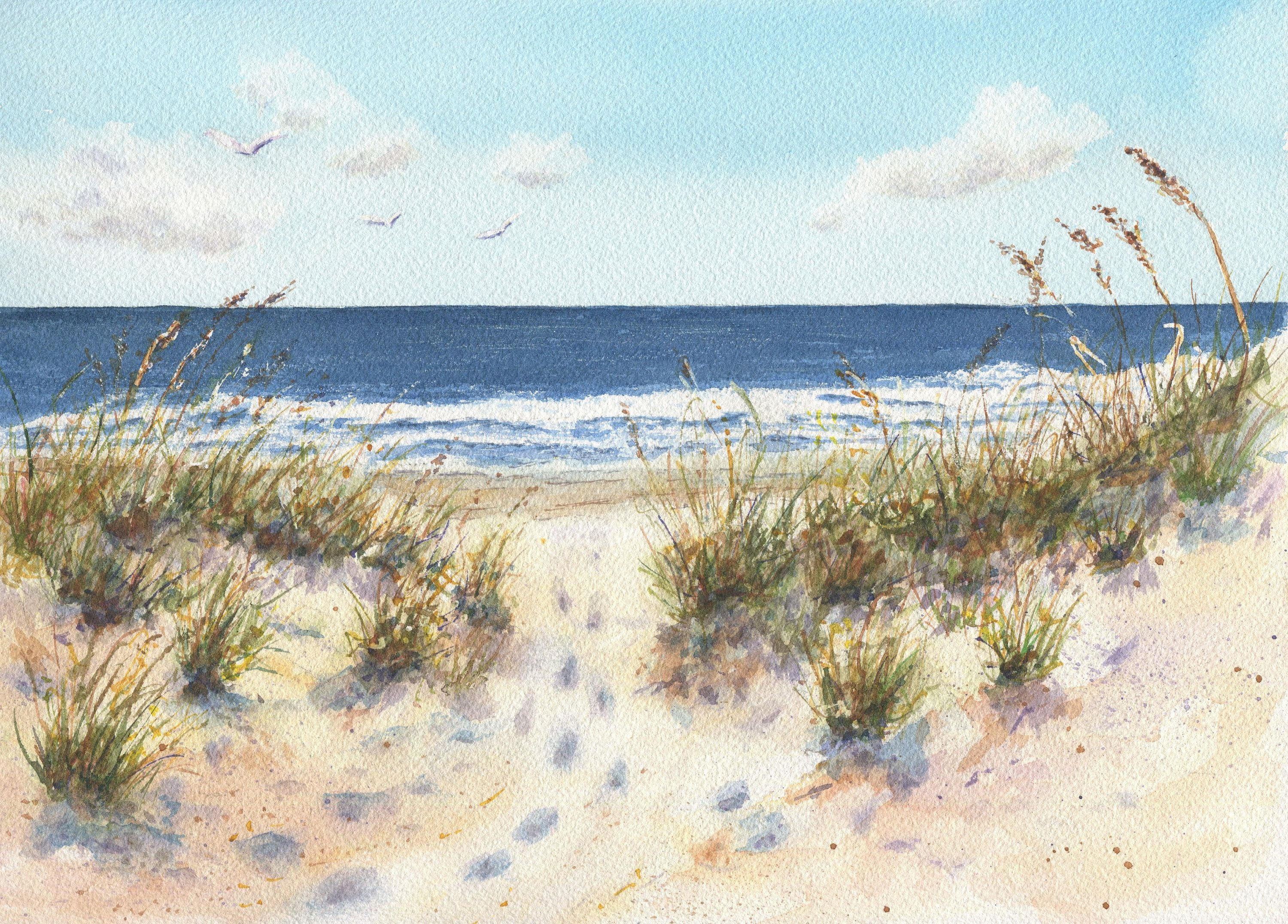 Footprints Watercolor Ocean Painting Print Beach Watercolor