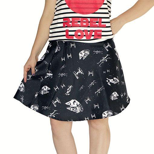 Star Wars Black & White Starfighters Skirt - $43 ⋆ Fandom Gifts!