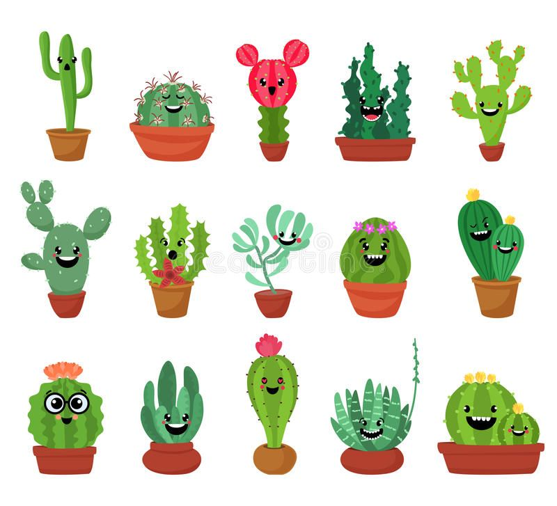 Big Set Of Cute Cartoon Cactus And Succulents With Funny Faces Cute Stickers Or Patches Or Pins Collection Plants Cactus Drawing Cactus Cartoon Plant Cartoon