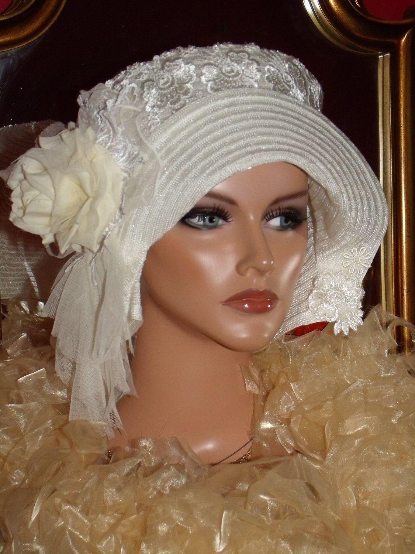 Wedding Flapper Hat Cloche Hat Off White Church Holiday❤ ❤ ❤