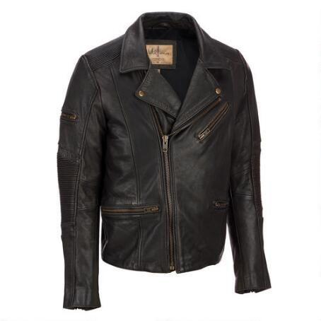 Black Leather Jacket Motorcycle Moto Vintage Wilsons Men's XL D2hAyry22