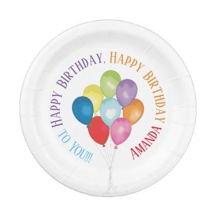 Birthday Balloons Customizable Paper Plates - kitchen gifts diy ideas decor special unique inidual customized  sc 1 st  Pinterest & Birthday Balloons Customizable Paper Plates - kitchen gifts diy ...